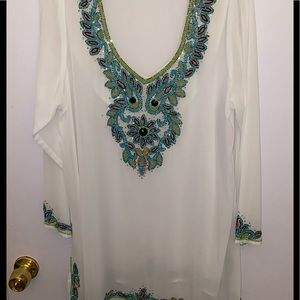 Other - White sheer tunic swim cover up size 1x plus size